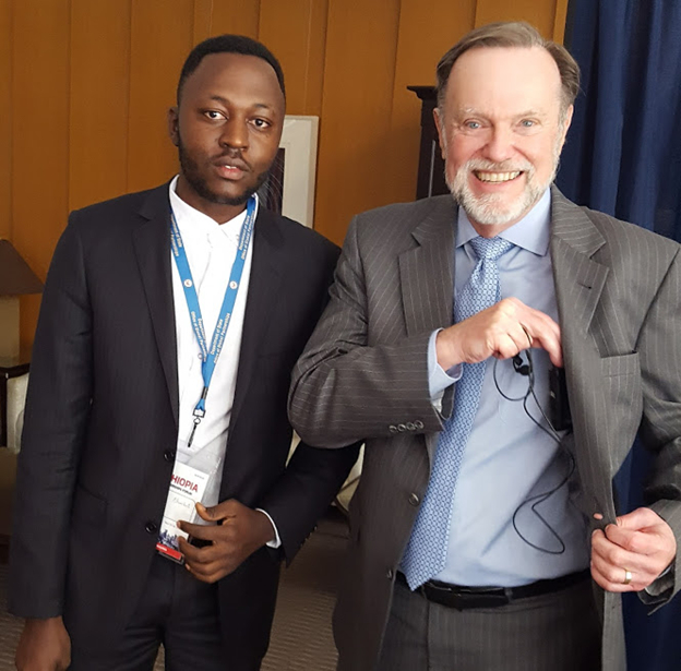 Tibor Nagy (right) with Pan African Visions reporter, Amos Fofung at the US Department of State