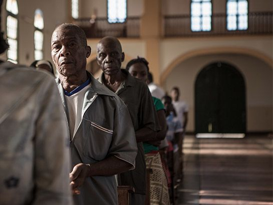 Christians worship at a church in Mozambique. The rise of Islamist fundamentalism in the northeast is a particular threat to Christians, who are targeted for their faith.
