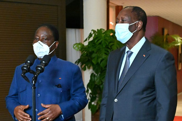 President Ouattara recently met with former President Bedie for talks on easing political tensions in Cote d'Ivoire