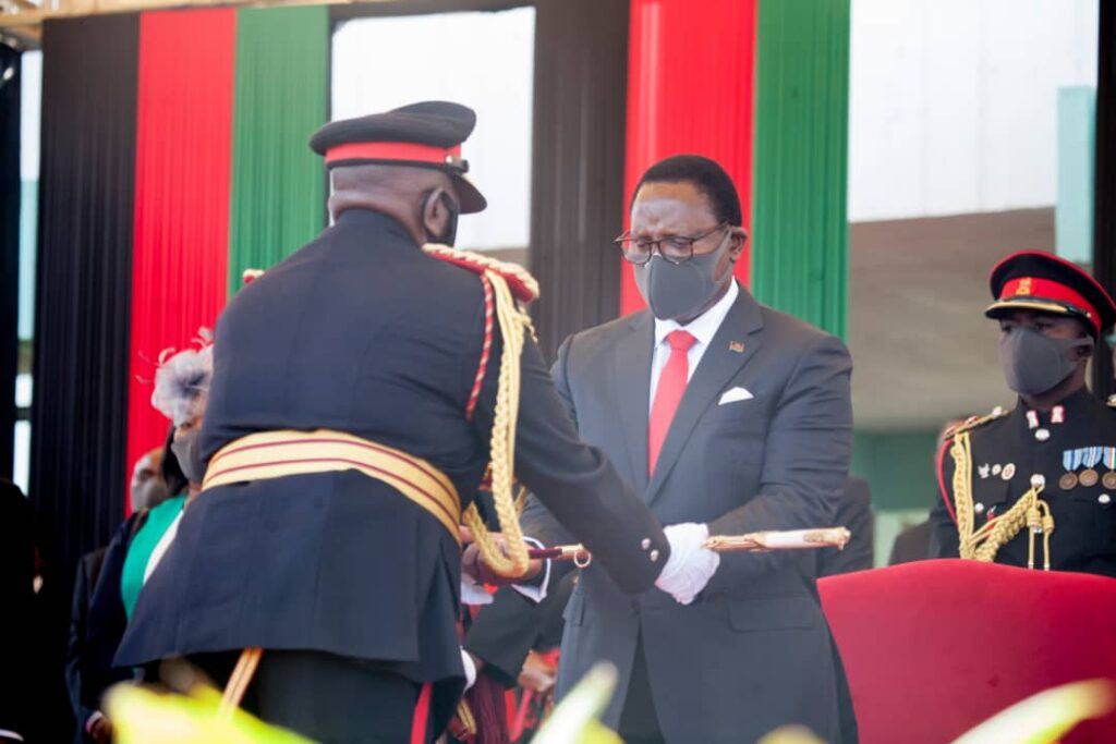 President Chakwera receiving the sword of office as Commander in Chief of the Malawi Armed Forces. Malawians must put all hands-on deck to root out the evils of corruption, he says.