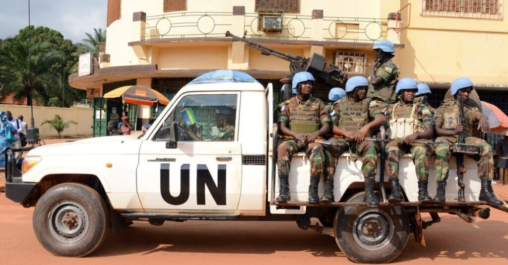 A vehicle of the Rwandan peacekeepers in Central African Republic on December 9, 2014 (Photo AFP)