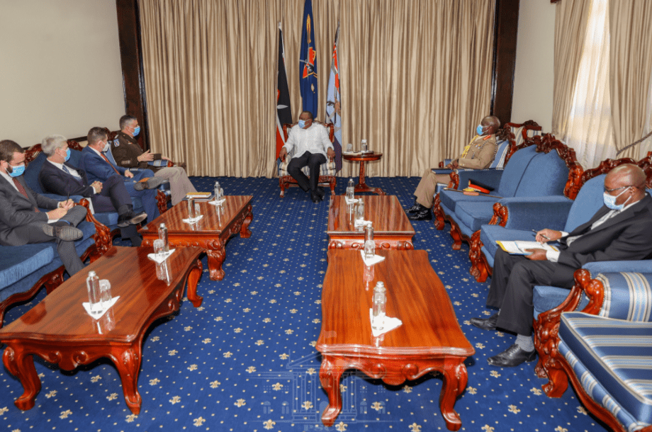 President Uhuru Kenyatta holds talks with the Commander of the United States Africa Command (AFRICOM) Gen. Stephen Townsend at State House, Nairobi, on December 15, 2020. PHOTO / PSCU