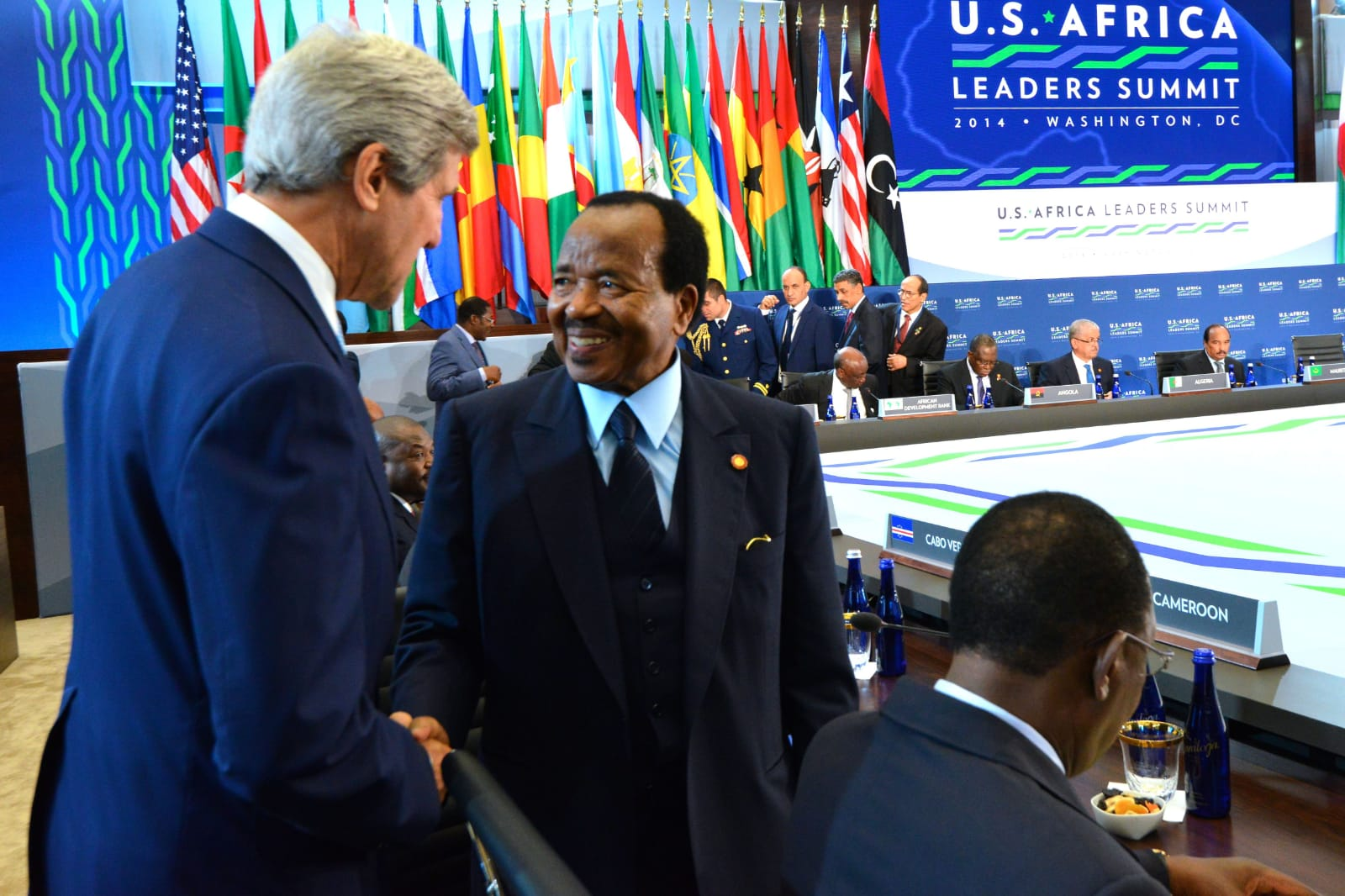 President Biya of Cameroon shakes hands with then Secretary of State John Kerry during the US-African Leaders Forum in 2014