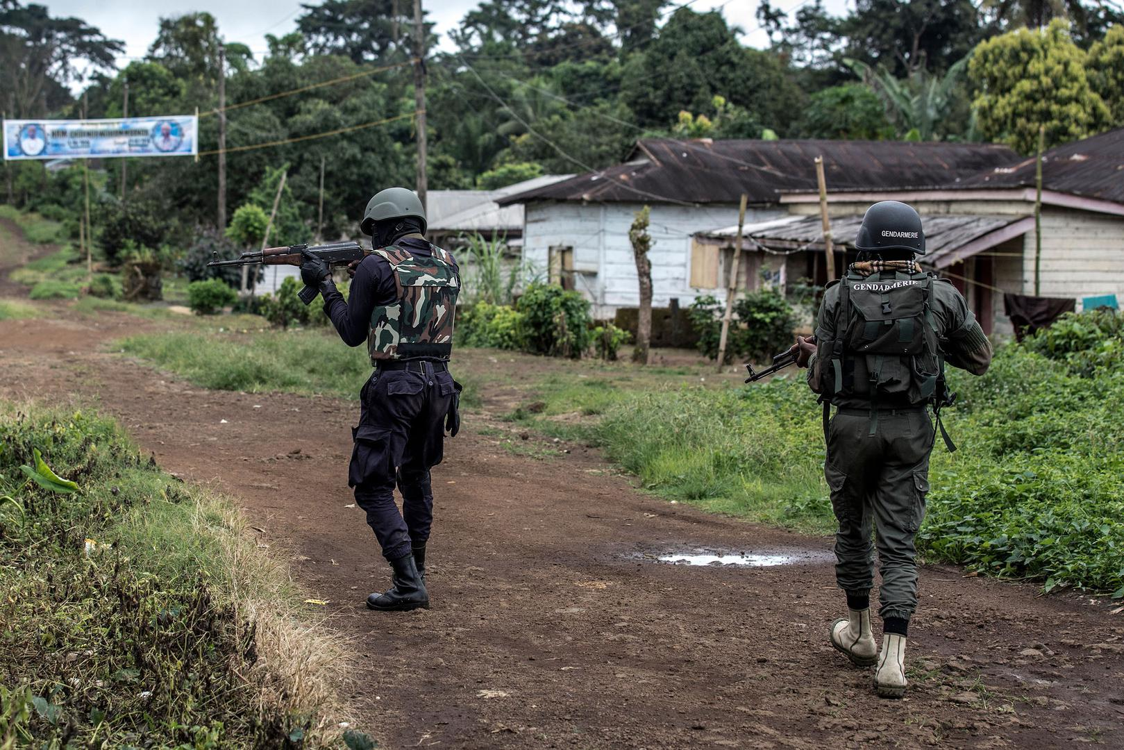 Security forces patrolling Muyuka, a town in the South West Region of Cameroon, as they try to rid the area of separatist fighters