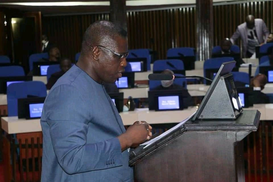 Chief Minister Professor David Francis in parliament during the passing of the independent Commission for Peace and National Cohesion bill