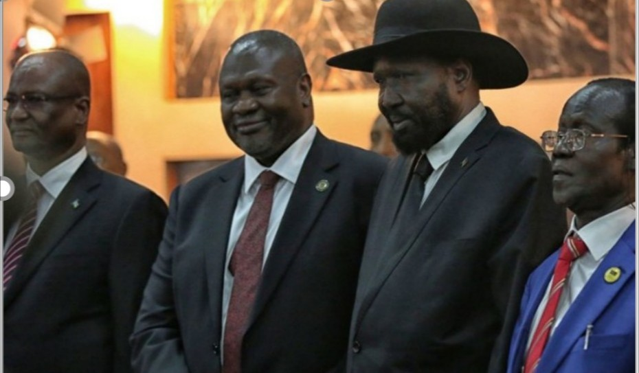 Salva Kiir, President of South Sudan, with First Vice President Riek Machar and other members of the Transitional Government of National Unity/Photo: Nektarios Markogiannis/UNMISS