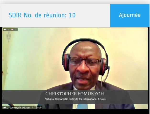 Canada needs to leverage its position in bringing about a solution to the ongoing Anglophone crisis, says Dr Fomunyoh