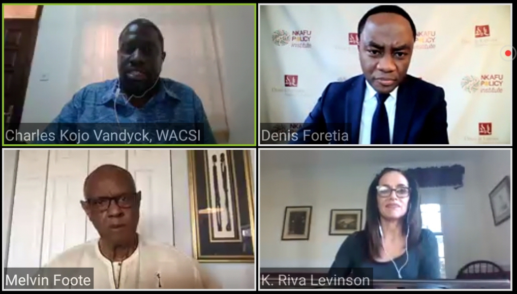 Experts speak during the Nkafu Policy Institute's webinar on the US-Africa Relations