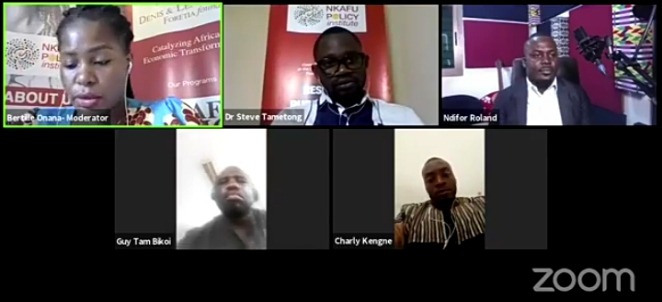 Panelists at the Nkafu Policy Institute's webinar on restoring peace in Cameroon