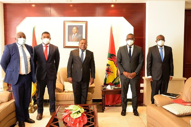 NJ Ayuk at a recent meeting with President Felipe Nyusi of Mozambique.The target must be to get activity levels across the entire energy value chain in Africa back to pre Covid-19 levels and beyond, he says.