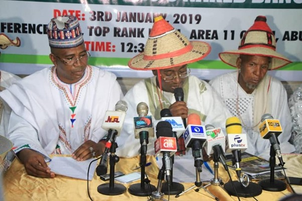 Miyetti Allah Cattle Breeders Association of Nigeria leaders at a press event. The group wields considerable influence within government circles. Photo credit Facebook