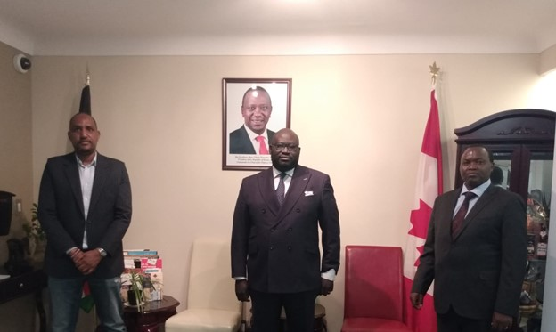 Chamber and Kenyan Representatives] Left to Right: Mr. Abdishakur Hussein (Abdishakur Hussein, Minister-Counsellor, responsible for Commercial Affairs); Mr. Sebastian Spio-Garbrah Garbrah (Chair of The Canada-Africa Chamber of Business); Mr. Stephen Lorete (Charge d'Affaires)