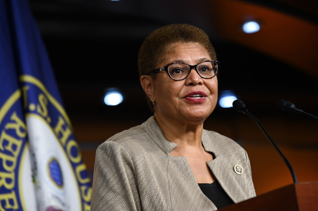 Representative Karen Bass speaks during a news conference on Capitol Hill on July 1, 2020. Photo credit Erin Scott/Bloomberg via Getty Images