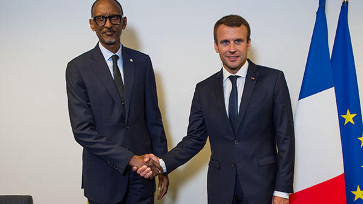 Rwandan President Paul Kagame with French President Emmanuel Macron in New York on September 18, 2017. PHOTO | URUGWIRO